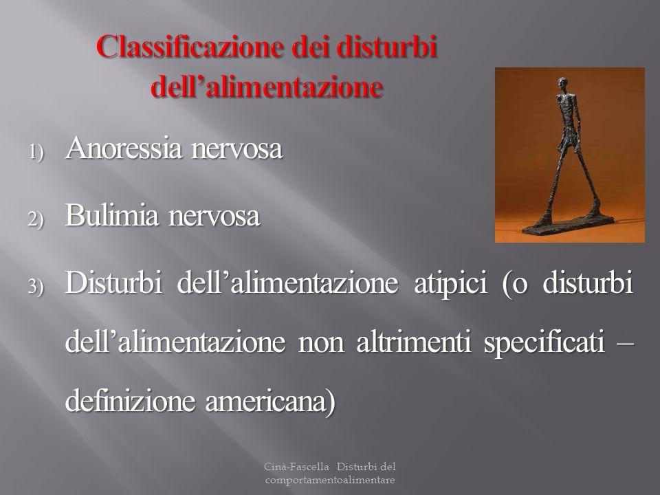 Cinà-Fascella Disturbi del comportamentoalimentare 1) Anoressia nervosa 2) Bulimia nervosa 3) Disturbi dellalimentazione atipici (o disturbi dellalime