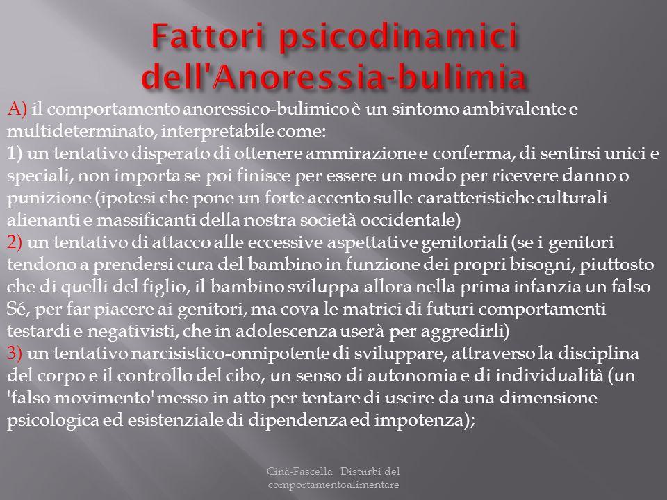 Cinà-Fascella Disturbi del comportamentoalimentare A) il comportamento anoressico-bulimico è un sintomo ambivalente e multideterminato, interpretabile