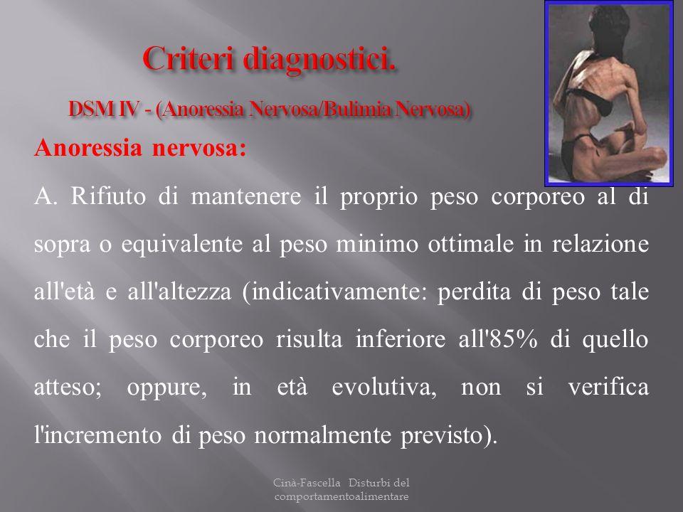 Cinà-Fascella Disturbi del comportamentoalimentare Anoressia nervosa: A. Rifiuto di mantenere il proprio peso corporeo al di sopra o equivalente al pe