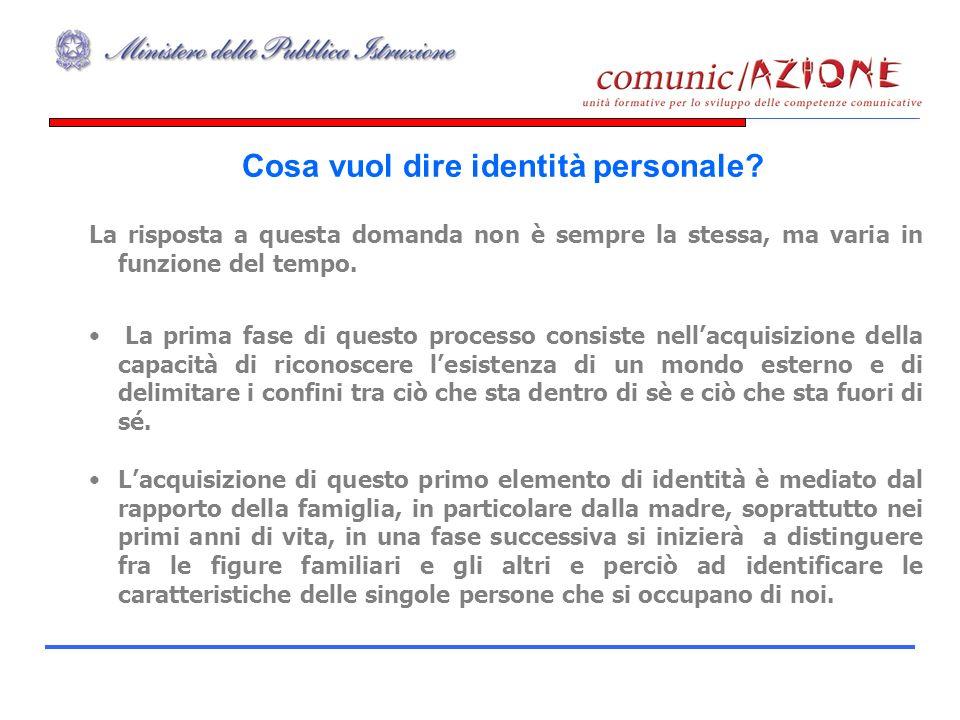 Cosa vuol dire identità personale? La risposta a questa domanda non è sempre la stessa, ma varia in funzione del tempo. La prima fase di questo proces