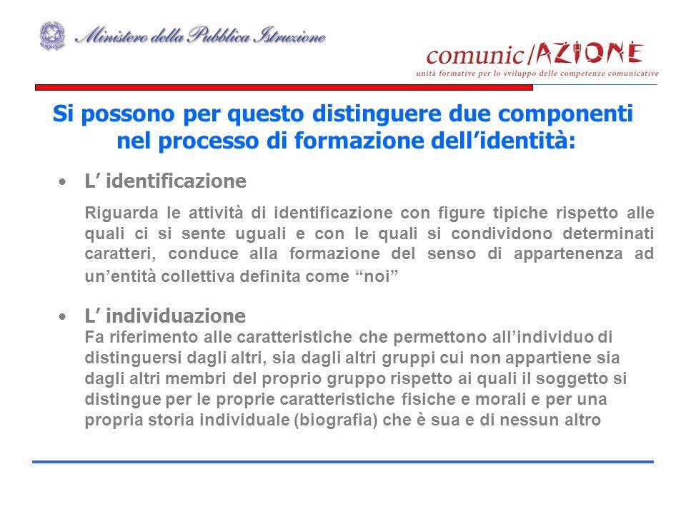 Si possono per questo distinguere due componenti nel processo di formazione dellidentità: L identificazione Riguarda le attività di identificazione co