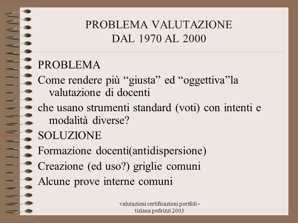 valutazioni certificazioni portfoli - tiziana pedrizzi 2003 PROBLEMA VALUTAZIONE DAL 1970 AL 2000 PROBLEMA Come rendere più giusta ed oggettivala valu