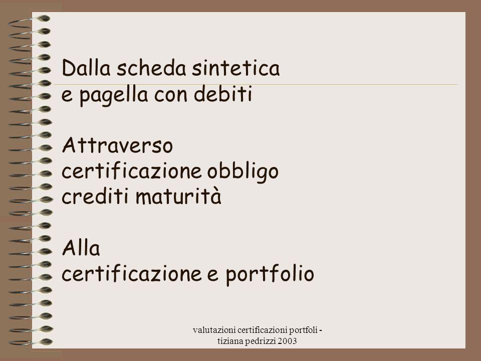 valutazioni certificazioni portfoli - tiziana pedrizzi 2003 Dalla scheda sintetica e pagella con debiti Attraverso certificazione obbligo crediti matu