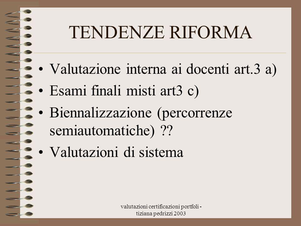 valutazioni certificazioni portfoli - tiziana pedrizzi 2003 TENDENZE RIFORMA Valutazione interna ai docenti art.3 a) Esami finali misti art3 c) Bienna