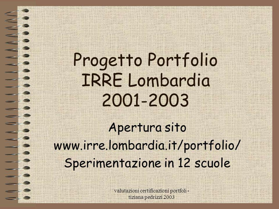 valutazioni certificazioni portfoli - tiziana pedrizzi 2003 Progetto Portfolio IRRE Lombardia 2001-2003 Apertura sito www.irre.lombardia.it/portfolio/ Sperimentazione in 12 scuole