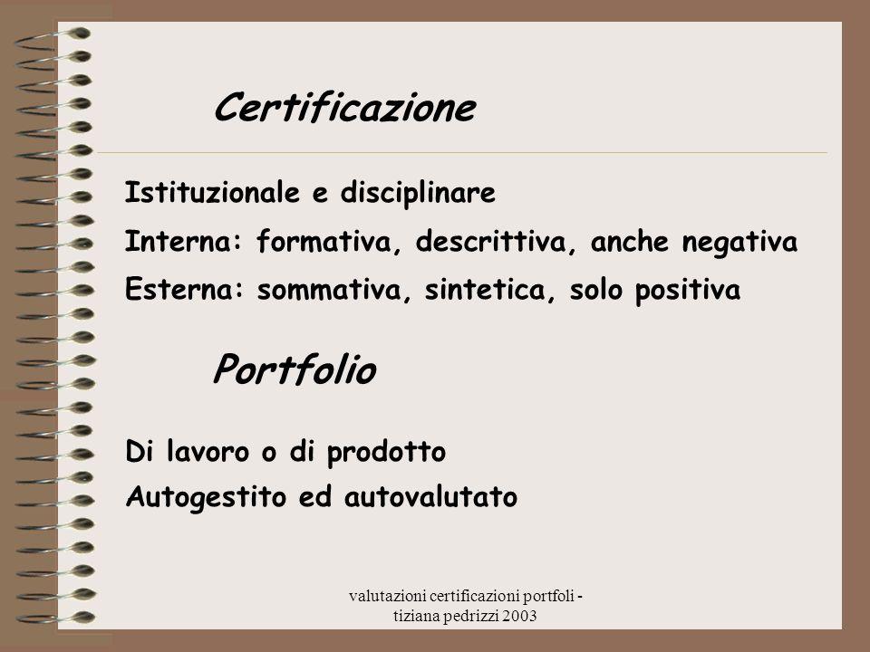 valutazioni certificazioni portfoli - tiziana pedrizzi 2003 Certificazione Istituzionale e disciplinare Interna: formativa, descrittiva, anche negativ