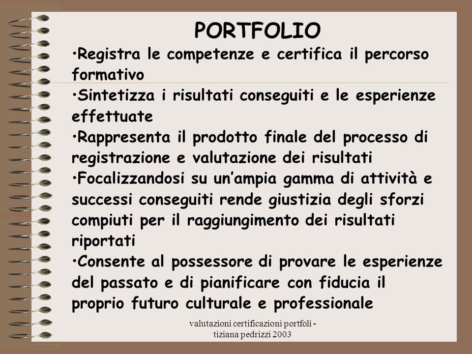 valutazioni certificazioni portfoli - tiziana pedrizzi 2003 PORTFOLIO Registra le competenze e certifica il percorso formativo Sintetizza i risultati