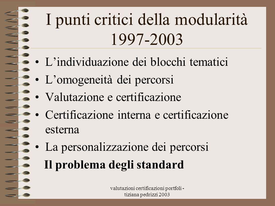 valutazioni certificazioni portfoli - tiziana pedrizzi 2003 I punti critici della modularità 1997-2003 Lindividuazione dei blocchi tematici Lomogeneit
