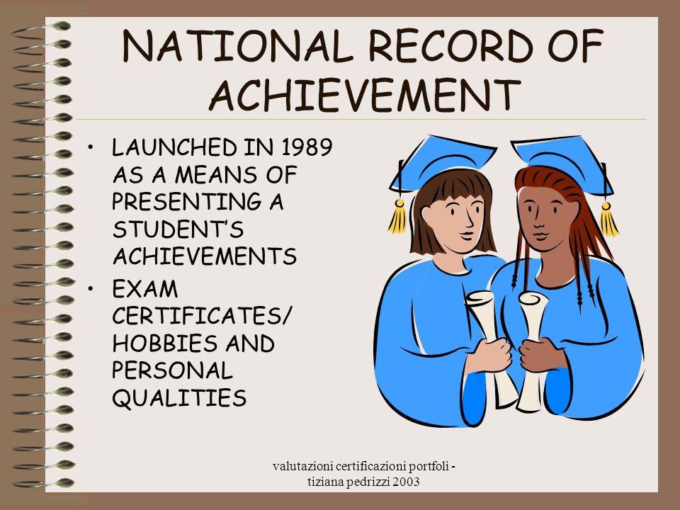 valutazioni certificazioni portfoli - tiziana pedrizzi 2003 NATIONAL RECORD OF ACHIEVEMENT LAUNCHED IN 1989 AS A MEANS OF PRESENTING A STUDENTS ACHIEV