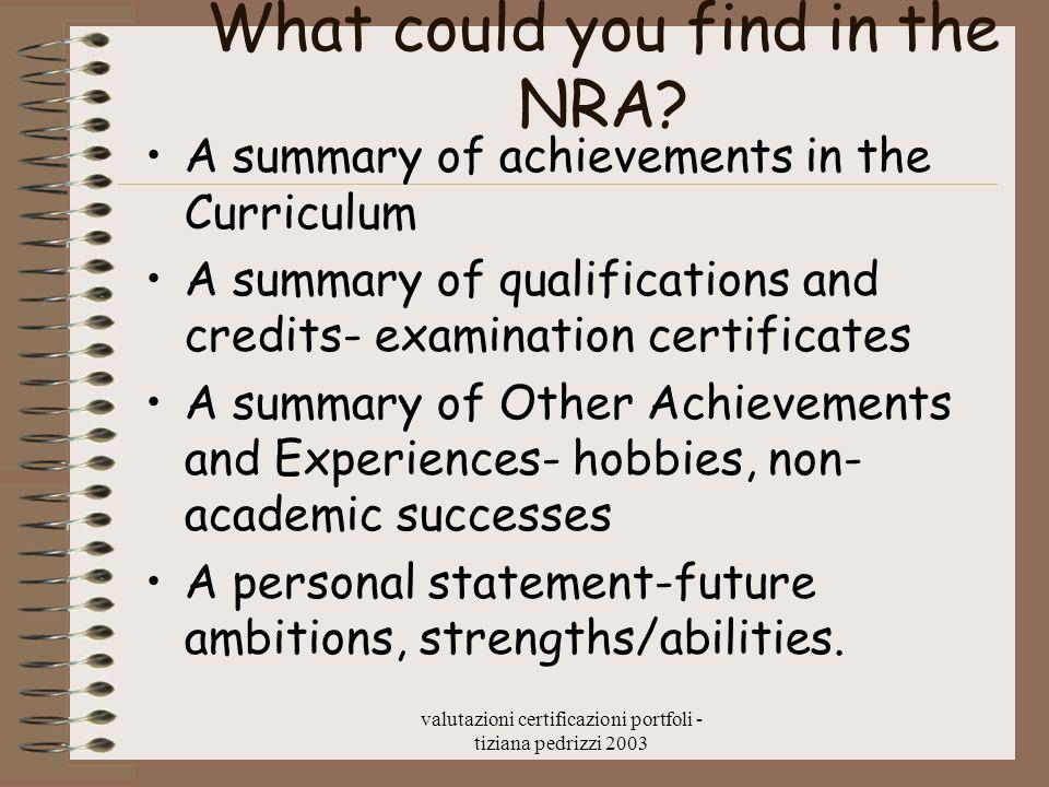 valutazioni certificazioni portfoli - tiziana pedrizzi 2003 What could you find in the NRA? A summary of achievements in the Curriculum A summary of q