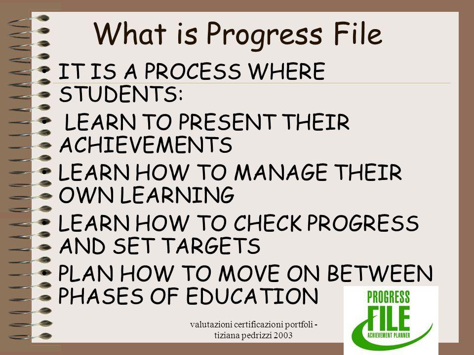 valutazioni certificazioni portfoli - tiziana pedrizzi 2003 What is Progress File IT IS A PROCESS WHERE STUDENTS: LEARN TO PRESENT THEIR ACHIEVEMENTS