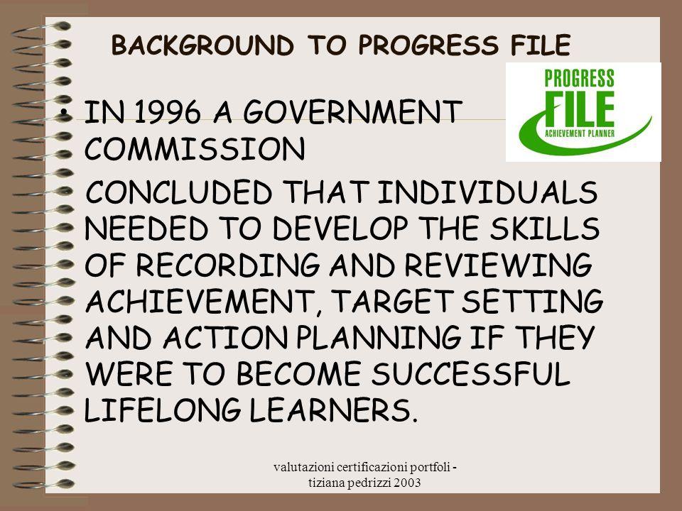 valutazioni certificazioni portfoli - tiziana pedrizzi 2003 BACKGROUND TO PROGRESS FILE IN 1996 A GOVERNMENT COMMISSION CONCLUDED THAT INDIVIDUALS NEE