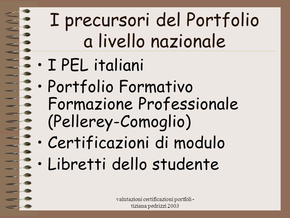 valutazioni certificazioni portfoli - tiziana pedrizzi 2003 I precursori del Portfolio a livello nazionale I PEL italiani Portfolio Formativo Formazio