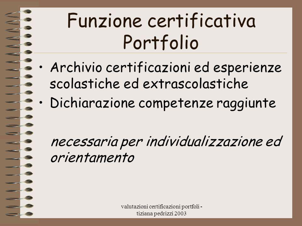 valutazioni certificazioni portfoli - tiziana pedrizzi 2003 Funzione certificativa Portfolio Archivio certificazioni ed esperienze scolastiche ed extrascolastiche Dichiarazione competenze raggiunte necessaria per individualizzazione ed orientamento
