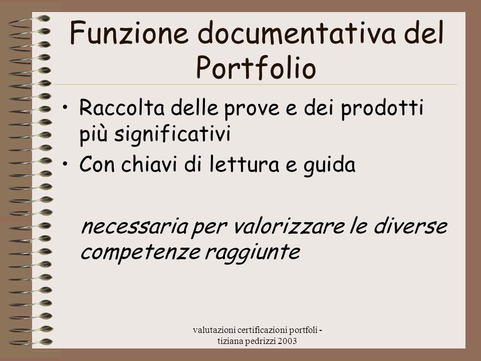 valutazioni certificazioni portfoli - tiziana pedrizzi 2003 Funzione documentativa del Portfolio Raccolta delle prove e dei prodotti più significativi