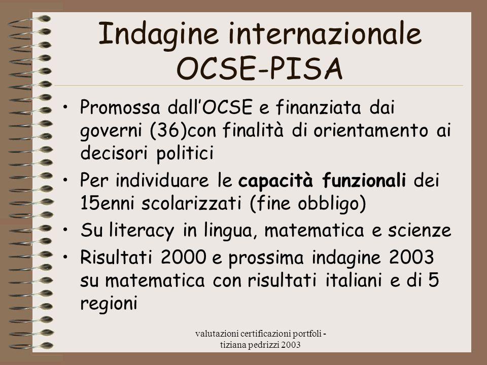 valutazioni certificazioni portfoli - tiziana pedrizzi 2003 Indagine internazionale OCSE-PISA Promossa dallOCSE e finanziata dai governi (36)con final