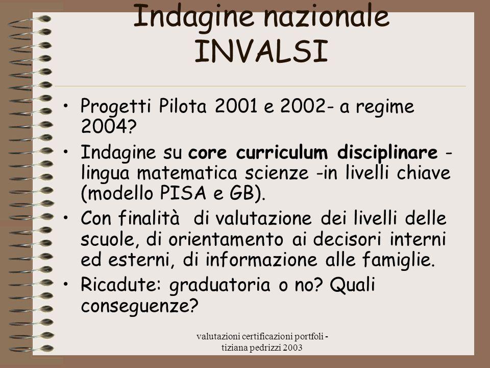 valutazioni certificazioni portfoli - tiziana pedrizzi 2003 Indagine nazionale INVALSI Progetti Pilota 2001 e 2002- a regime 2004.