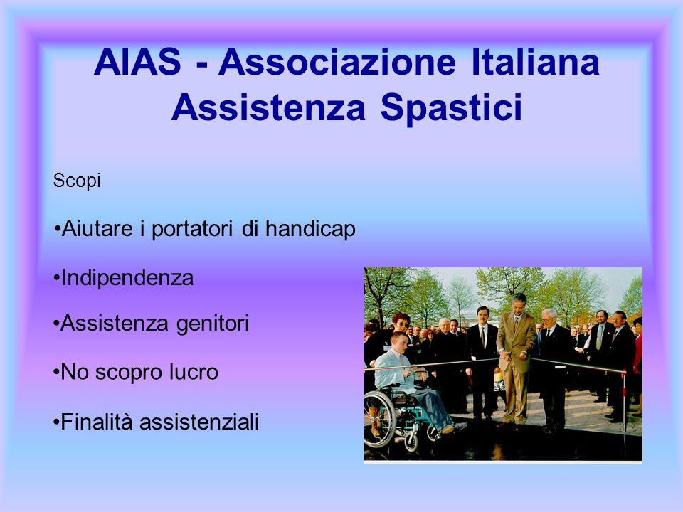 AIAS - Associazione Italiana Assistenza Spastici Scopi Aiutare i portatori di handicap Indipendenza Assistenza genitori No scopro lucro Finalità assis
