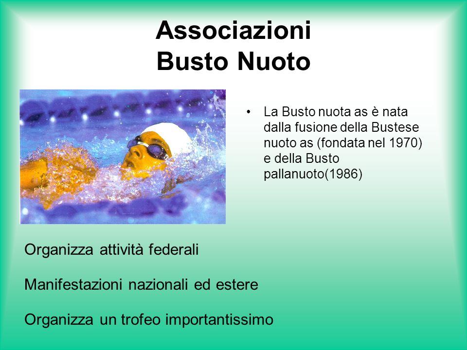 Associazioni Busto Nuoto La Busto nuota as è nata dalla fusione della Bustese nuoto as (fondata nel 1970) e della Busto pallanuoto(1986) Organizza att