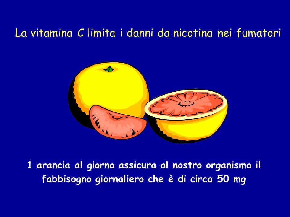 La vitamina C limita i danni da nicotina nei fumatori 1 arancia al giorno assicura al nostro organismo il fabbisogno giornaliero che è di circa 50 mg