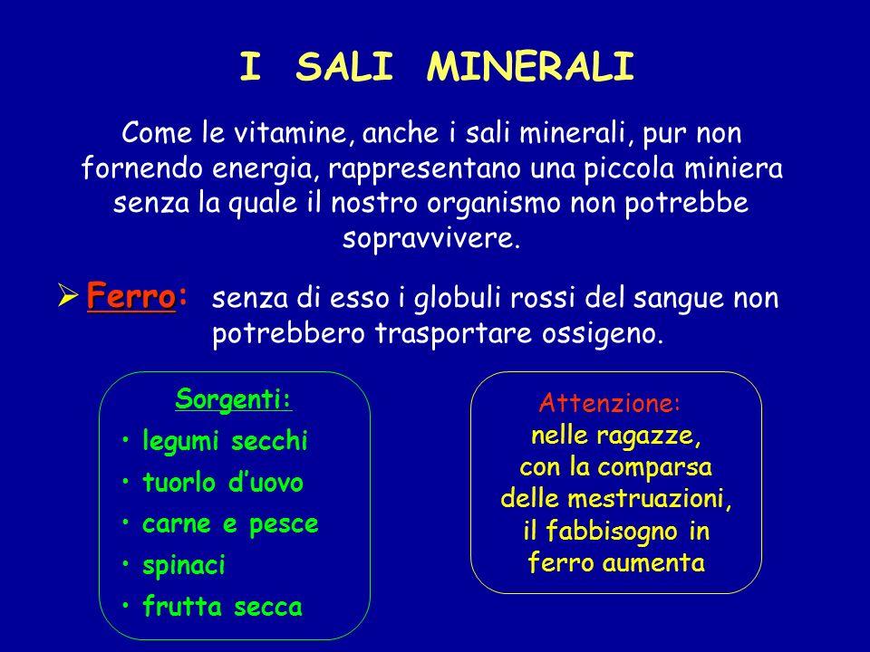 Attenzione: nelle ragazze, con la comparsa delle mestruazioni, il fabbisogno in ferro aumenta Come le vitamine, anche i sali minerali, pur non fornend
