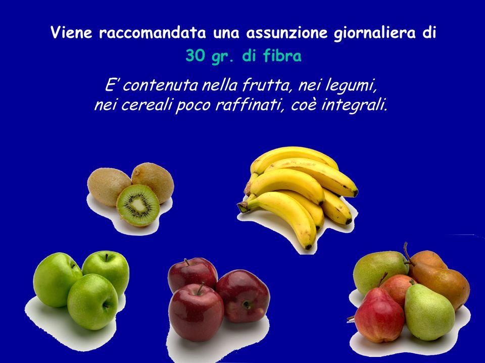 Viene raccomandata una assunzione giornaliera di 30 gr. di fibra E contenuta nella frutta, nei legumi, nei cereali poco raffinati, coè integrali.