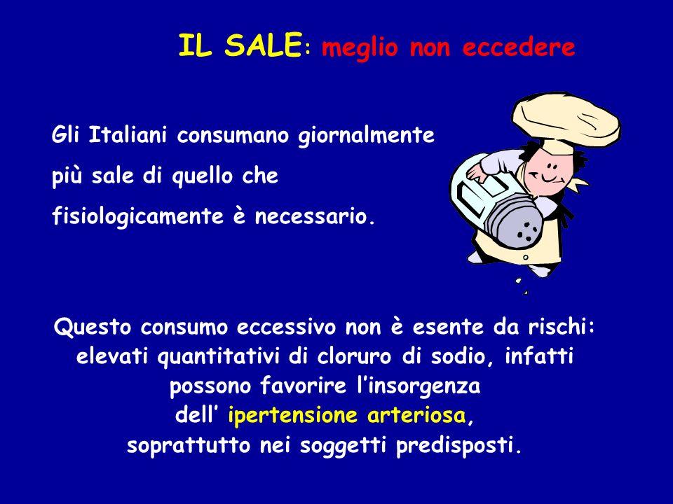 Gli Italiani consumano giornalmente più sale di quello che fisiologicamente è necessario. Questo consumo eccessivo non è esente da rischi: elevati qua