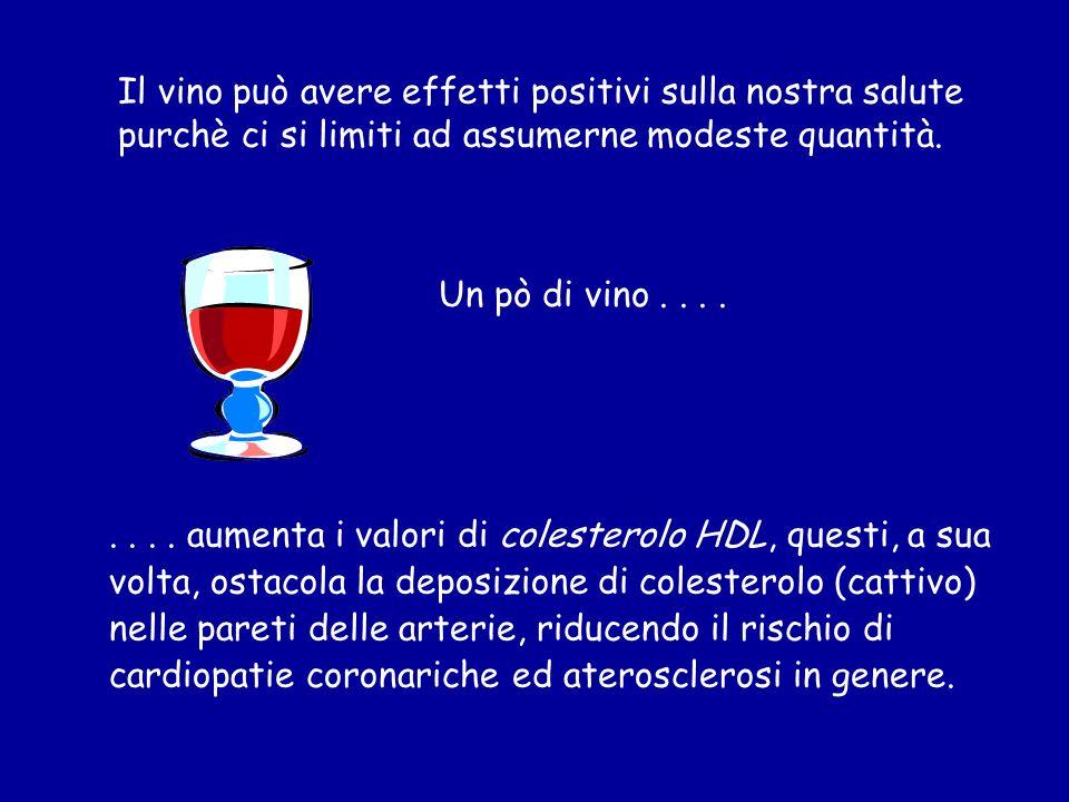 Il vino può avere effetti positivi sulla nostra salute purchè ci si limiti ad assumerne modeste quantità..... aumenta i valori di colesterolo HDL, que