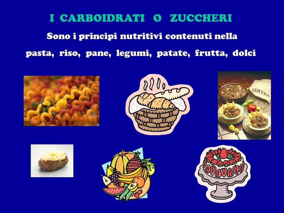 I CARBOIDRATI O ZUCCHERI Sono i principi nutritivi contenuti nella pasta, riso, pane, legumi, patate, frutta, dolci