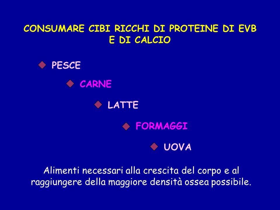 CONSUMARE CIBI RICCHI DI PROTEINE DI EVB E DI CALCIO Alimenti necessari alla crescita del corpo e al raggiungere della maggiore densità ossea possibil
