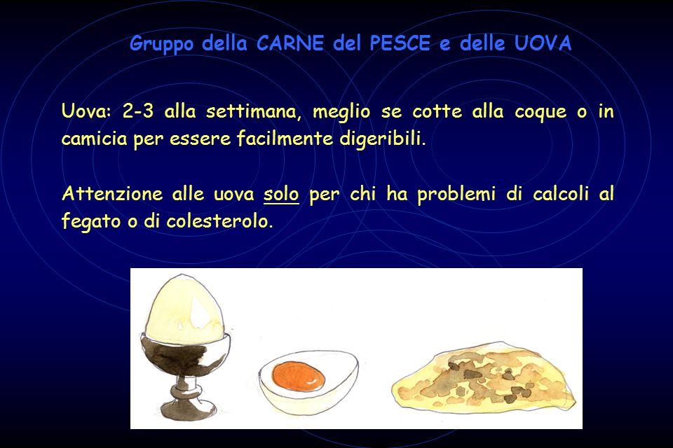 Uova: 2-3 alla settimana, meglio se cotte alla coque o in camicia per essere facilmente digeribili. Attenzione alle uova solo per chi ha problemi di c