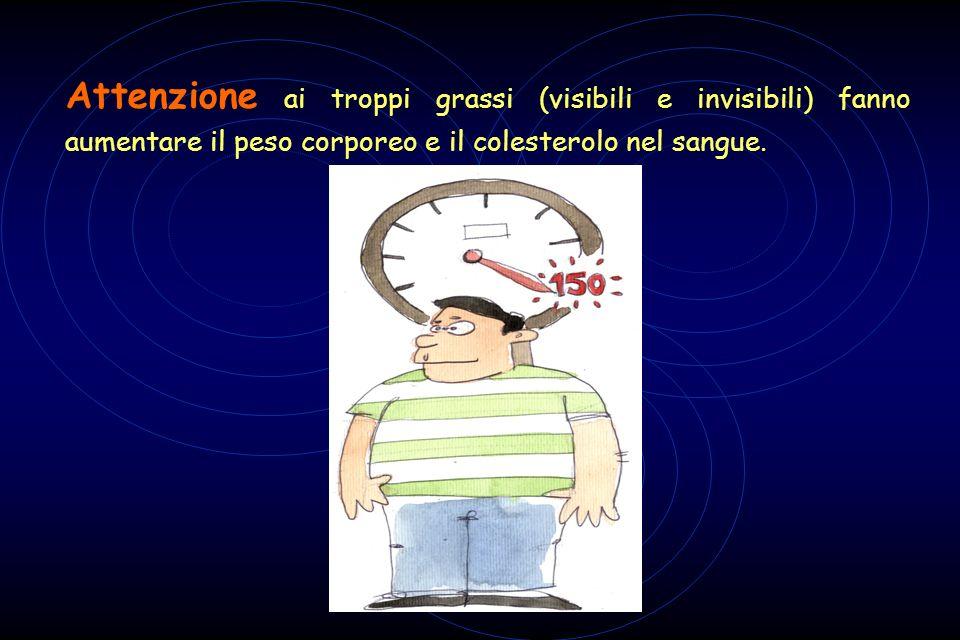 Attenzione ai troppi grassi (visibili e invisibili) fanno aumentare il peso corporeo e il colesterolo nel sangue.