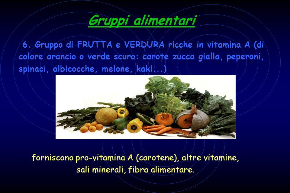 Gruppi alimentari 6. Gruppo di FRUTTA e VERDURA ricche in vitamina A (di colore arancio o verde scuro: carote zucca gialla, peperoni, spinaci, albicoc