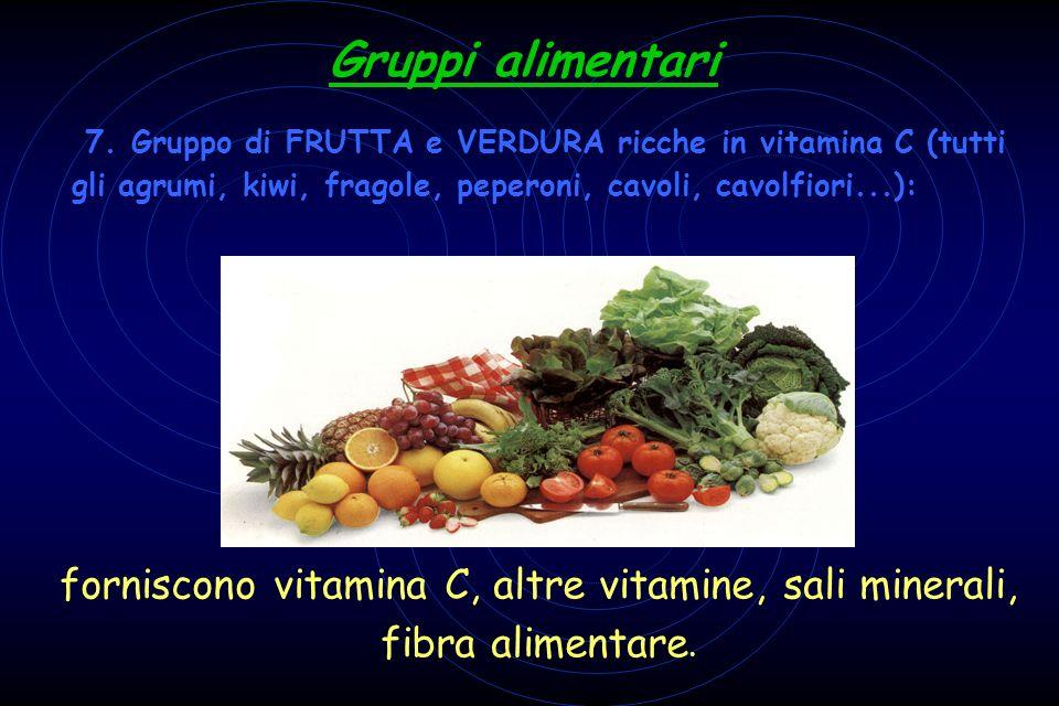 7. Gruppo di FRUTTA e VERDURA ricche in vitamina C (tutti gli agrumi, kiwi, fragole, peperoni, cavoli, cavolfiori...): Gruppi alimentari forniscono vi