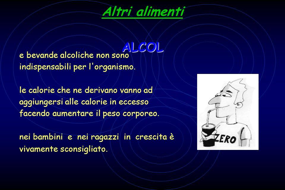 ALCOL Altri alimenti ALCOL L e bevande alcoliche non sono indispensabili per l'organismo. L le calorie che ne derivano vanno ad aggiungersi alle calor