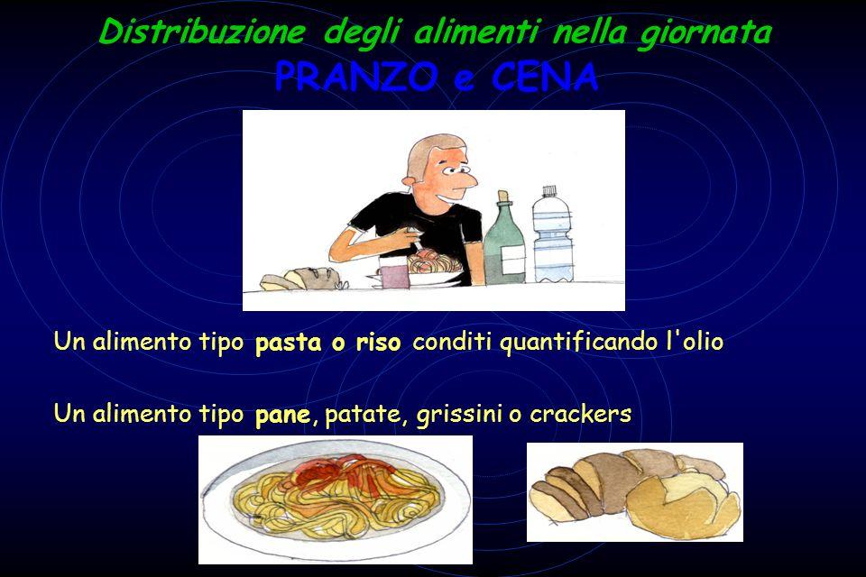 Distribuzione degli alimenti nella giornata - Un alimento tipo pasta o riso conditi quantificando l'olio Un alimento tipo pane, patate, grissini o cra