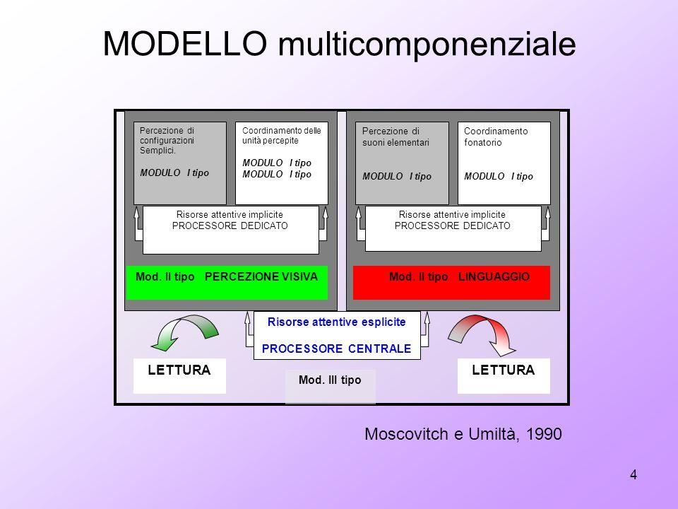 4 MODELLO multicomponenziale Percezione di configurazioni Semplici. MODULO I tipo Percezione di suoni elementari MODULO I tipo Coordinamento delle uni
