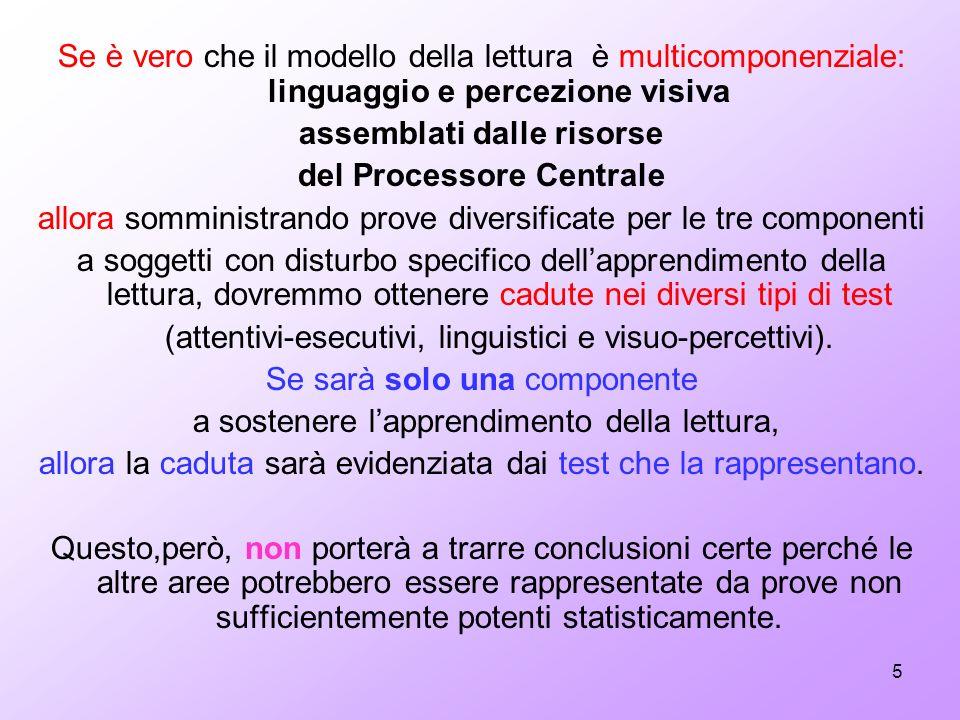 5 Se è vero che il modello della lettura è multicomponenziale: linguaggio e percezione visiva assemblati dalle risorse del Processore Centrale allora