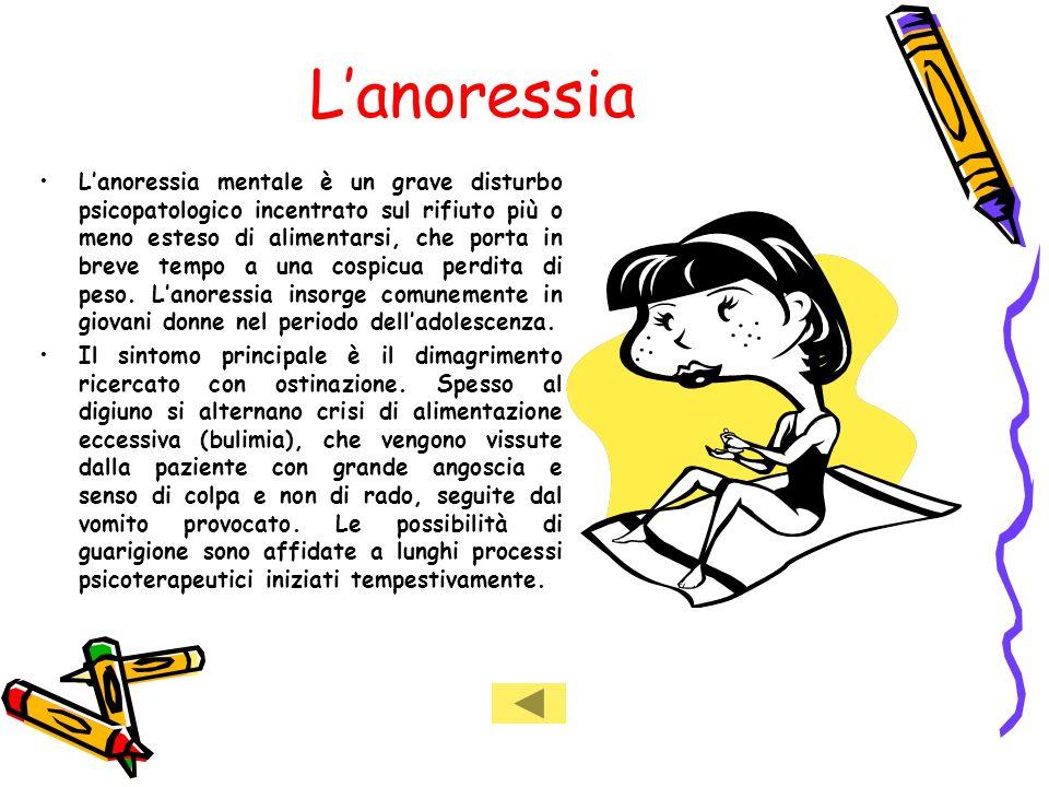 Lanoressia Lanoressia mentale è un grave disturbo psicopatologico incentrato sul rifiuto più o meno esteso di alimentarsi, che porta in breve tempo a una cospicua perdita di peso.
