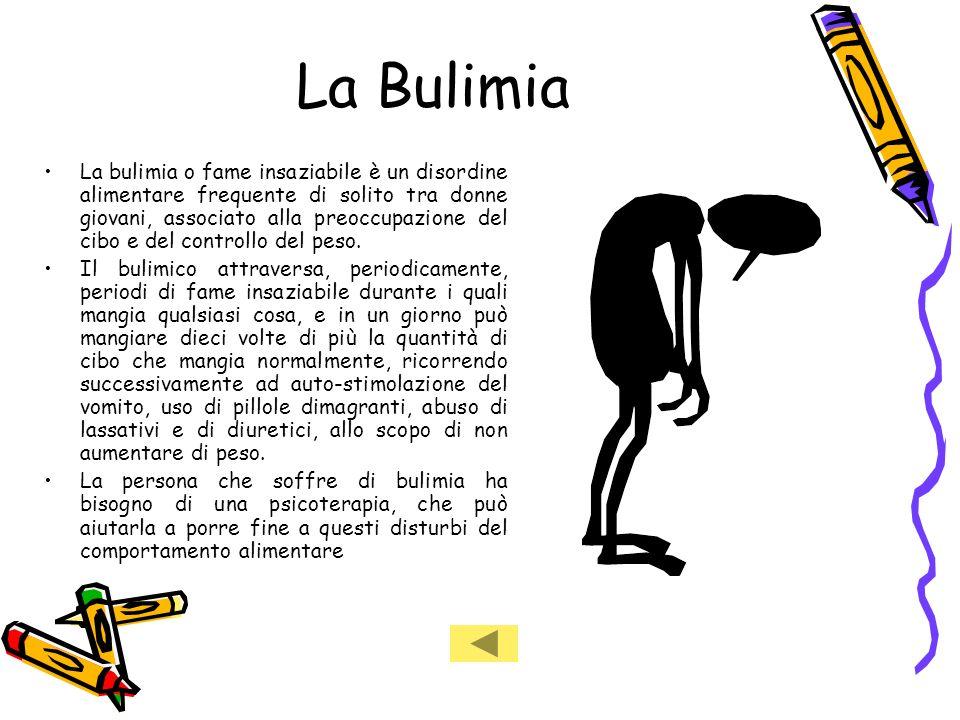 La Bulimia La bulimia o fame insaziabile è un disordine alimentare frequente di solito tra donne giovani, associato alla preoccupazione del cibo e del controllo del peso.