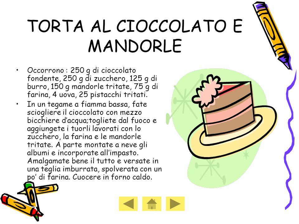 Occorrono : 250 g di cioccolato fondente, 250 g di zucchero, 125 g di burro, 150 g mandorle tritate, 75 g di farina, 4 uova, 25 pistacchi tritati.