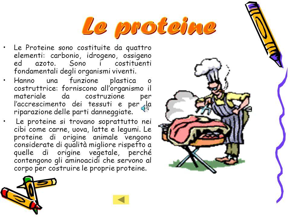 Le Proteine sono costituite da quattro elementi: carbonio, idrogeno, ossigeno ed azoto.
