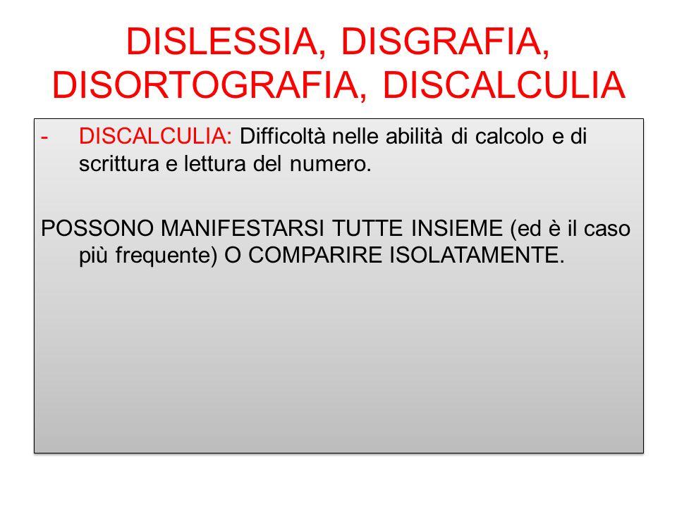 DISLESSIA, DISGRAFIA, DISORTOGRAFIA, DISCALCULIA -DISCALCULIA: Difficoltà nelle abilità di calcolo e di scrittura e lettura del numero. POSSONO MANIFE