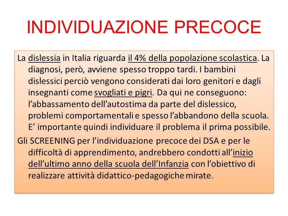 INDIVIDUAZIONE PRECOCE La dislessia in Italia riguarda il 4% della popolazione scolastica. La diagnosi, però, avviene spesso troppo tardi. I bambini d