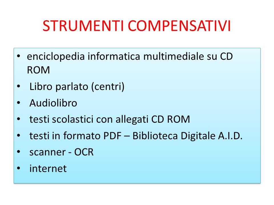 STRUMENTI COMPENSATIVI enciclopedia informatica multimediale su CD ROM Libro parlato (centri) Audiolibro testi scolastici con allegati CD ROM testi in