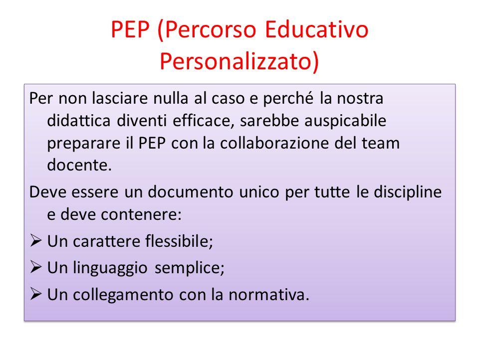 PEP (Percorso Educativo Personalizzato) Per non lasciare nulla al caso e perché la nostra didattica diventi efficace, sarebbe auspicabile preparare il