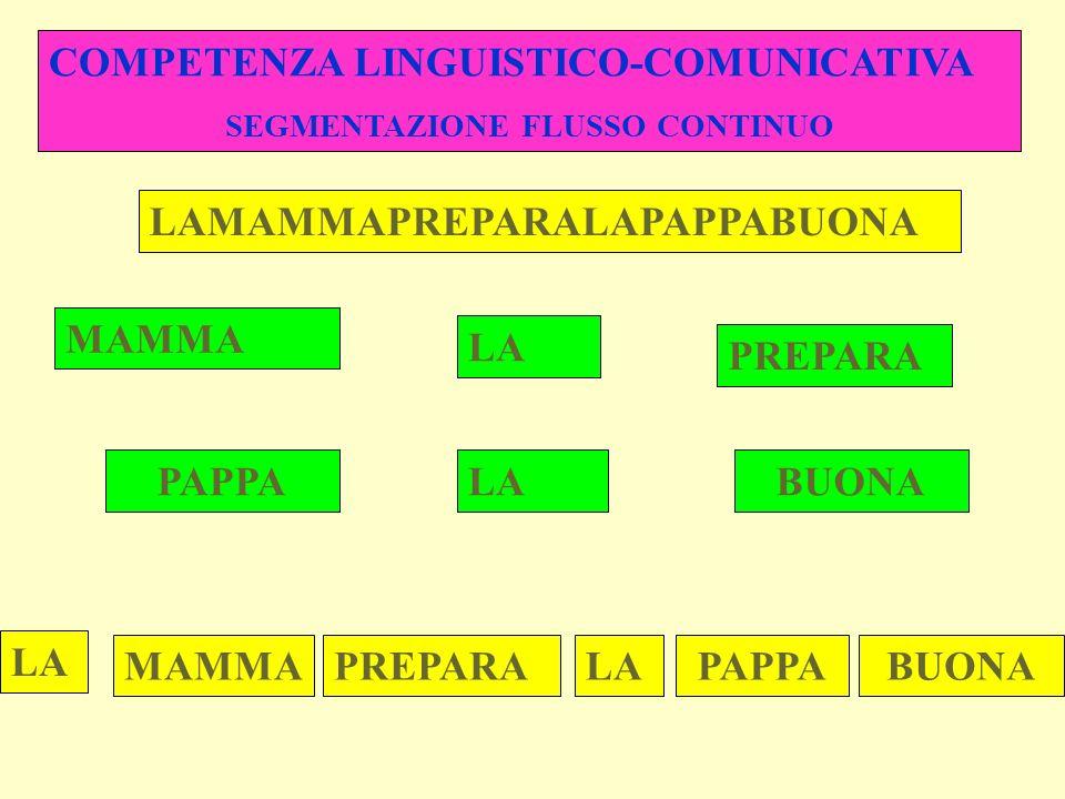 COMPETENZA LINGUISTICO-COMUNICATIVA SEGMENTAZIONE FLUSSO CONTINUO LAMAMMAPREPARALAPAPPABUONA MAMMA LA PREPARA PAPPALABUONA LA MAMMAPREPARALAPAPPABUONA