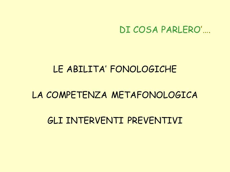 DI COSA PARLERO…. LE ABILITA FONOLOGICHE LA COMPETENZA METAFONOLOGICA GLI INTERVENTI PREVENTIVI