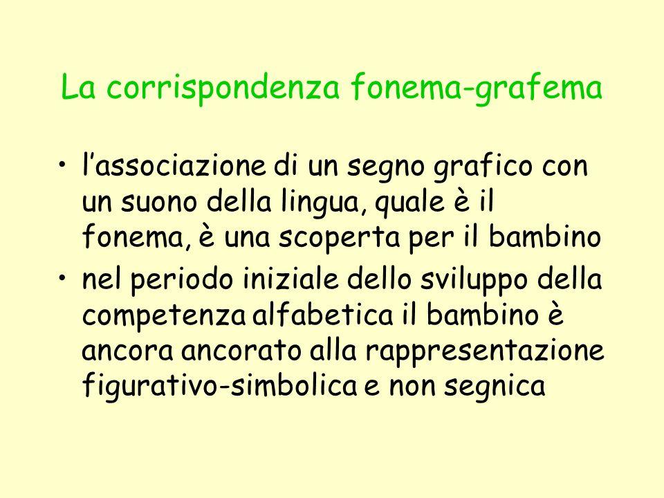 La corrispondenza fonema-grafema lassociazione di un segno grafico con un suono della lingua, quale è il fonema, è una scoperta per il bambino nel per