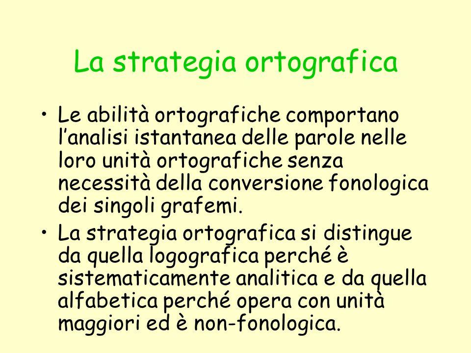 Le abilità ortografiche comportano lanalisi istantanea delle parole nelle loro unità ortografiche senza necessità della conversione fonologica dei sin